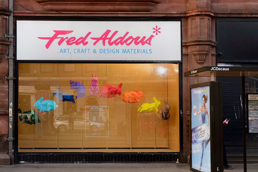 Fred Aldous, Rainbow Rabbits, Window Display