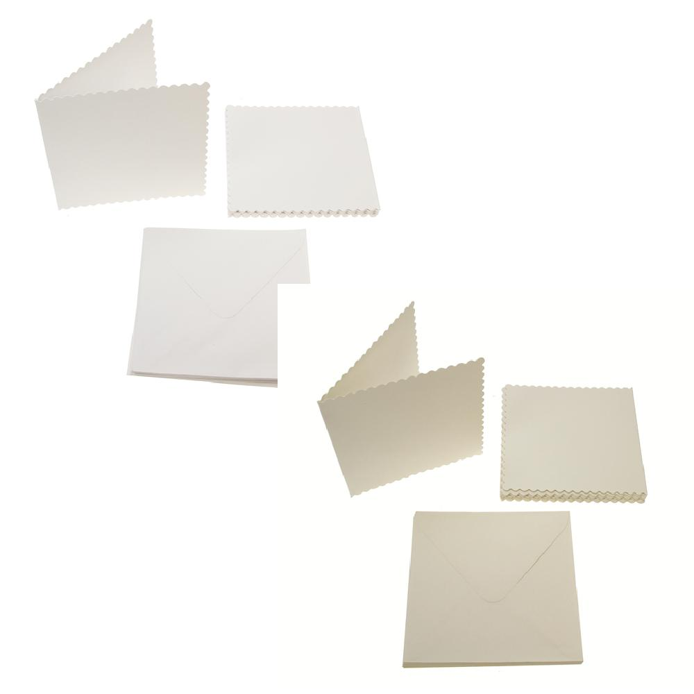 Square Scalloped Card Blanks 300gsm 12Pk