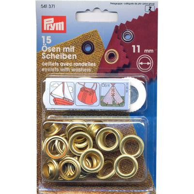 Eyelets+Washers 11mm Gilt
