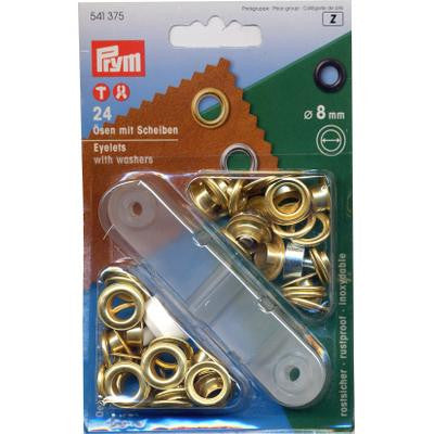 Eyelets+Washers 8mm Gilt