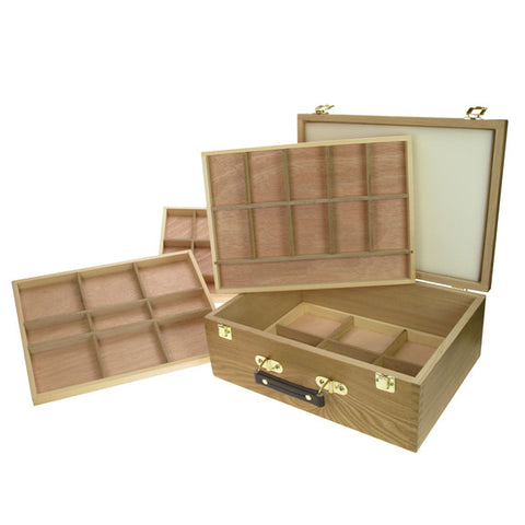 Artist Wooden Storage Boxes 4 Tray Pastel Box
