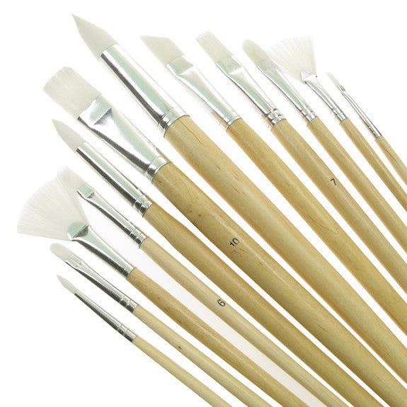 Value Brush Set White Taklon LH Assorted 12 Pack