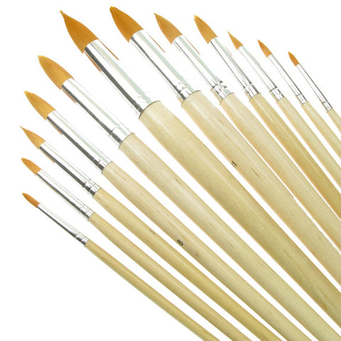 Value Brush Set Gold Taklon LH Round 12 Pack