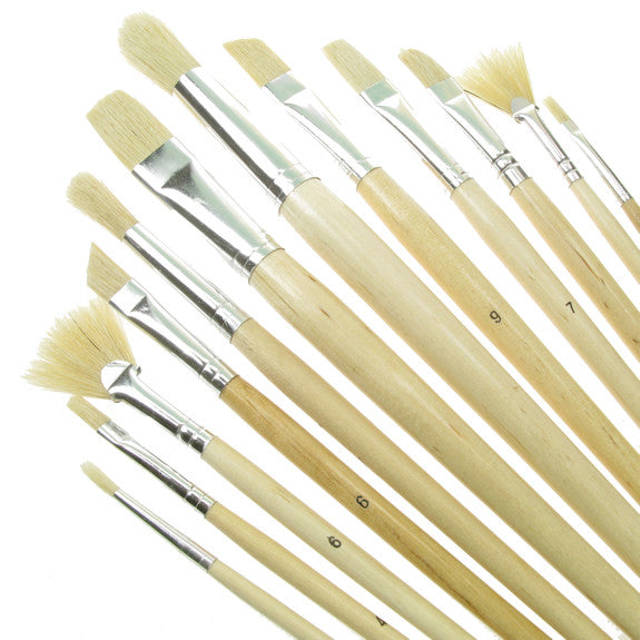 Value Brush Set White Bristle LH Assorted 12 Pack