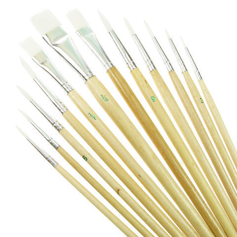 Value Brush Set White Taklon SH Assorted 12 Pack