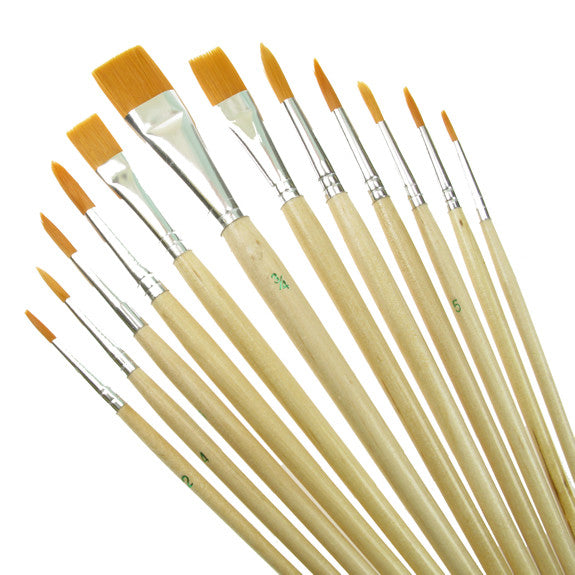 Value Brush Set Gold Taklon SH Assorted 12 Pack