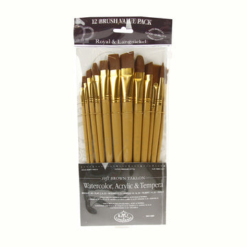 Royal Brush ZipLock Set - Soft Brown Taklon Flat Variety