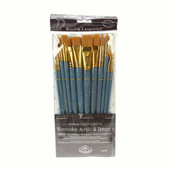 Royal Brush ZipLock Set - Medium Gold Taklon Flat Variety