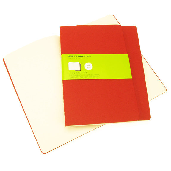 Moleskine Cahier Plain Large 3 Pack Red Cover