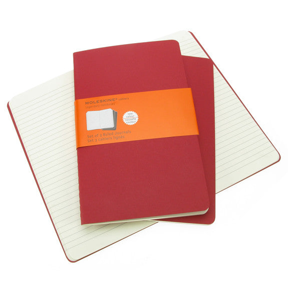 Moleskine Cahiers Large Ruled Notebook 3 Pack Red Cover