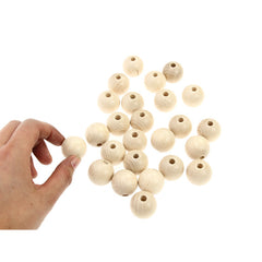 Whitewood Beads 25mm - 25 Pk