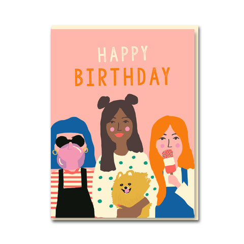 Girl Party Birthday Card