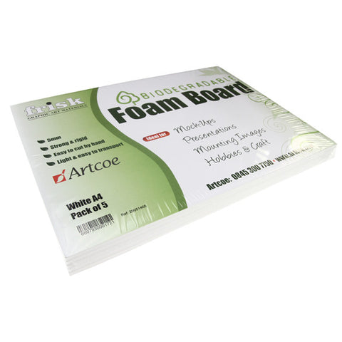 Biodegradable Foam Board - 5mm - White - A4 - 5pk