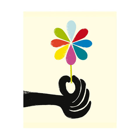 Ink Press Greetings Card - Hand Holding Flower