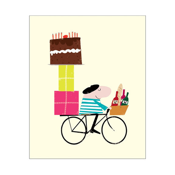 Ink Press Greetings Card - Man on a Bike