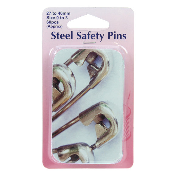 Hemline Safety Pins 60pk (approx) Assorted