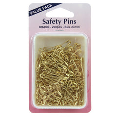 Hemline Safety Pins 200pk 23mm Brass