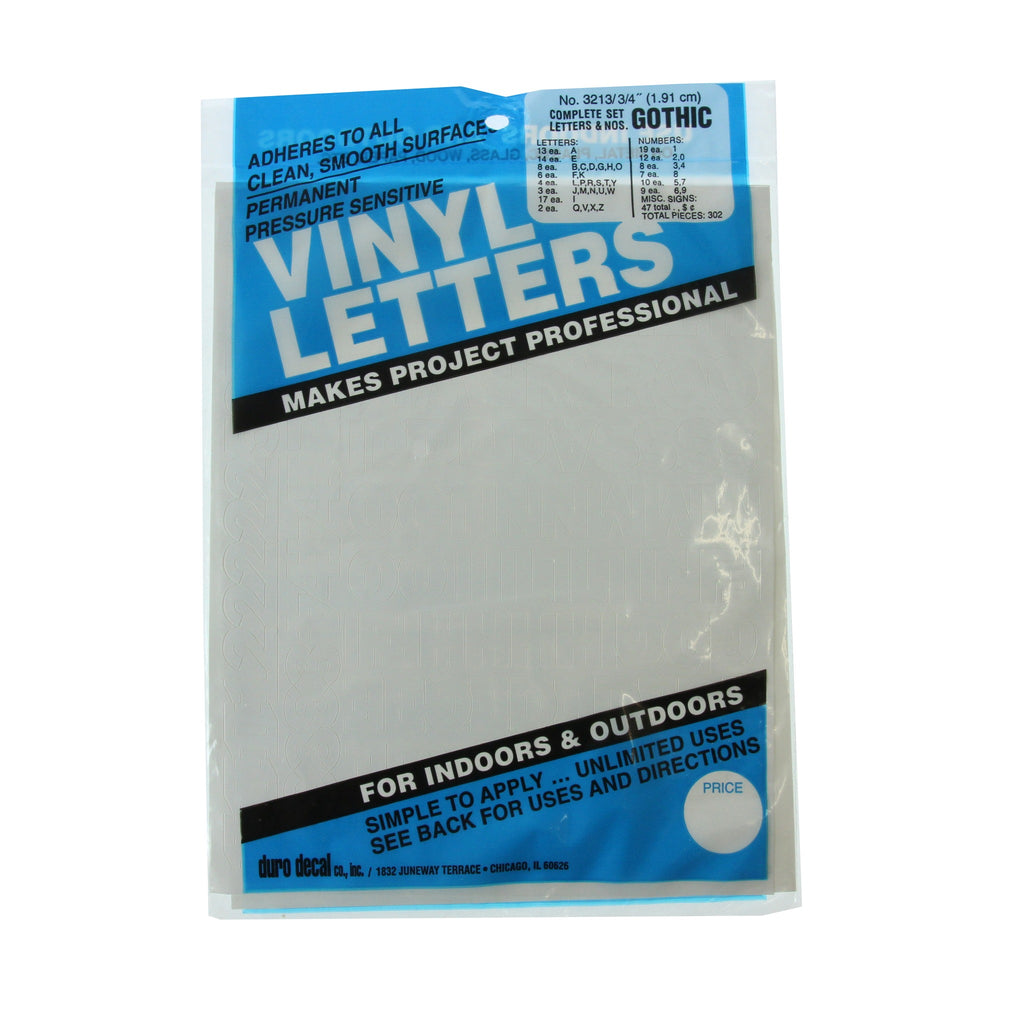 Vinyl Letters & Numbers Set - Gothic White - 3213 - 3/4""