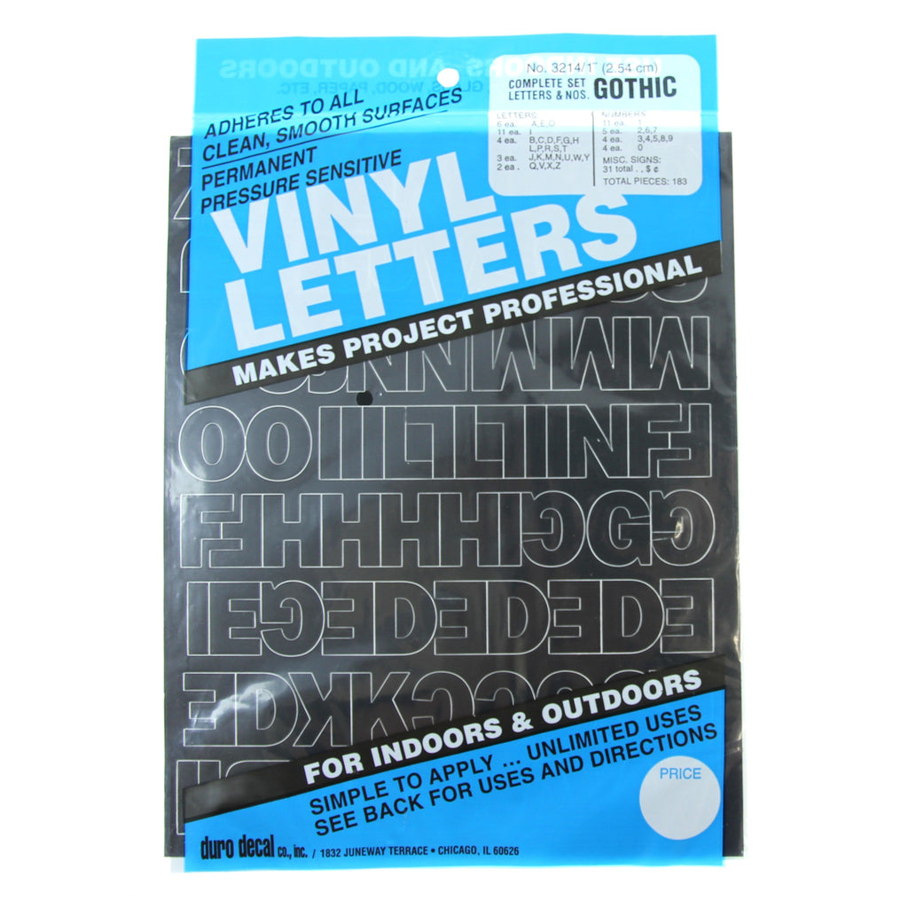 Vinyl Letters & Numbers Set - Gothic Black - 3214 - 1""