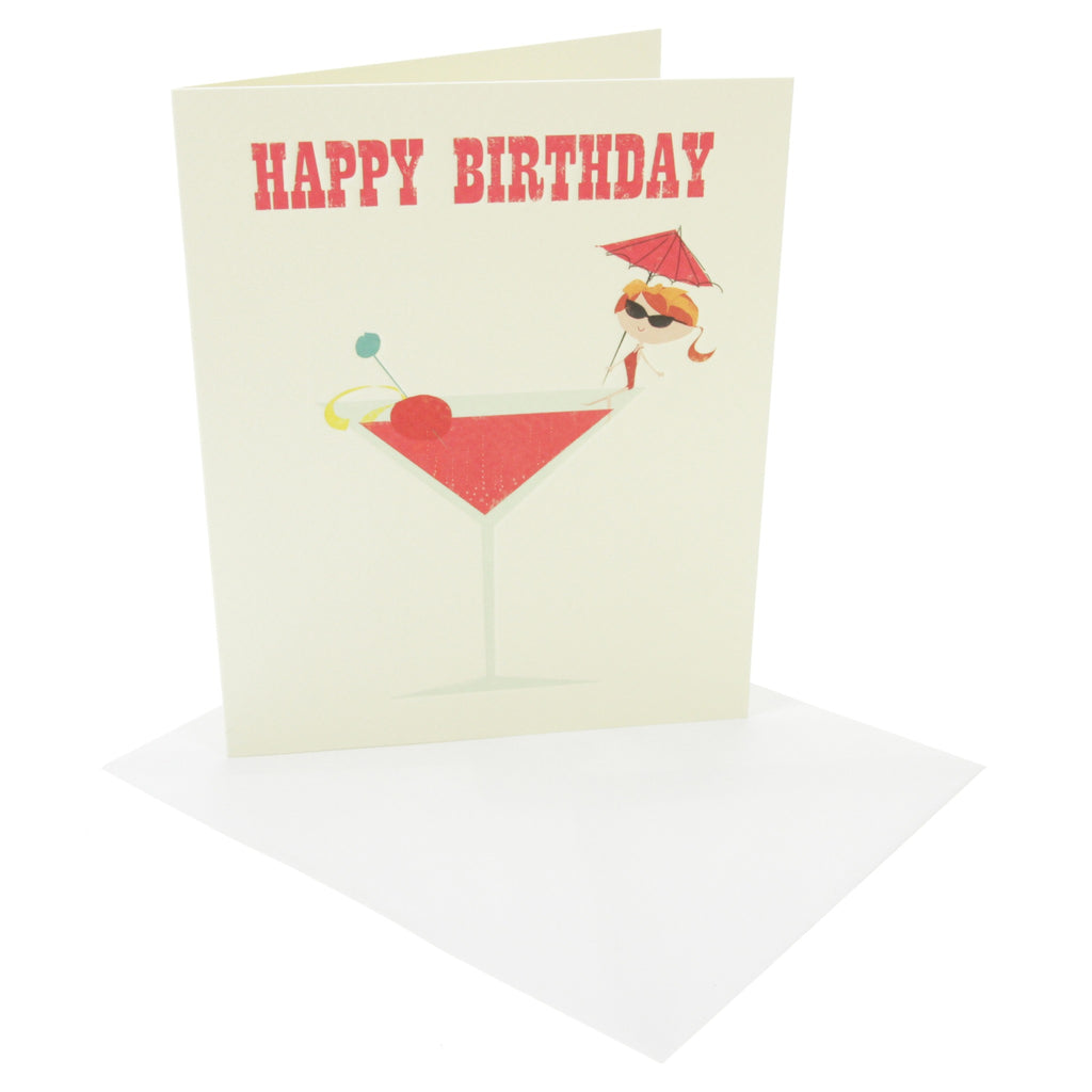 Ink Press Greetings Card - Happy Birthday Cocktail Glass