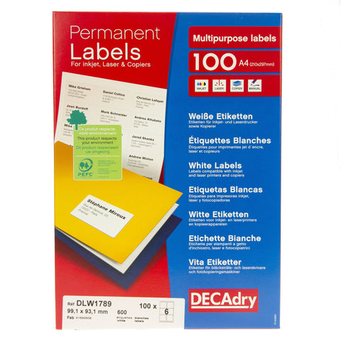 White Labels 99.1mm x 93.1mm 600pk