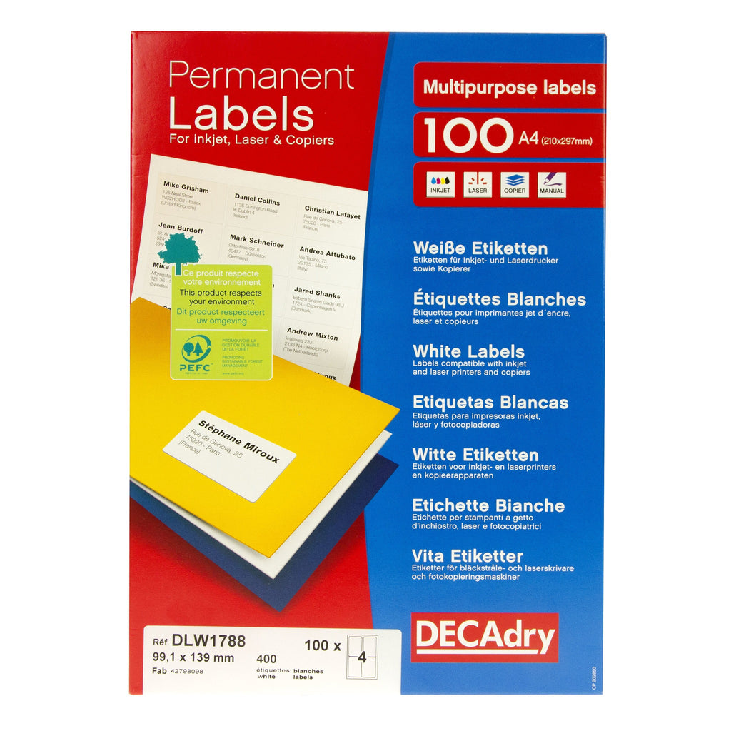 White Labels 99.1mm x 139.4mm 400pk