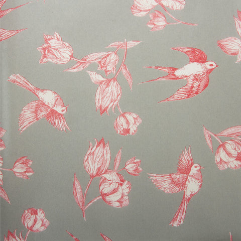 Deco Sheet Ref 649 Flower Birds Red Grey