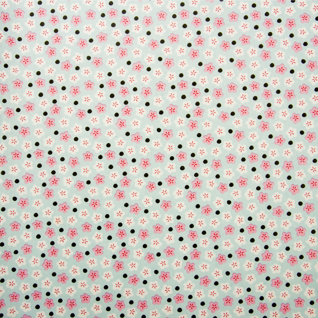 Deco Sheet Ref 661 Pink Flowers Black Dots