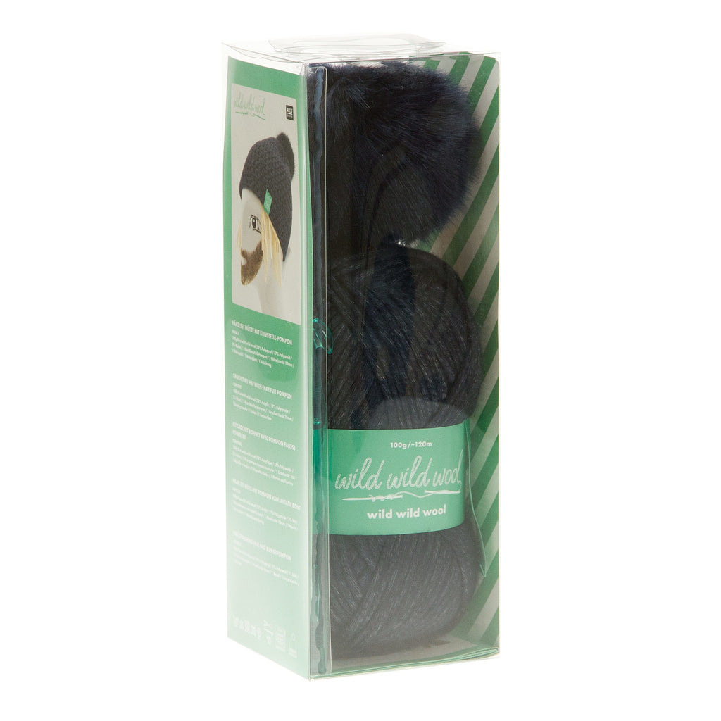 Navy Wild Wild Wool Crochet Hat Kit