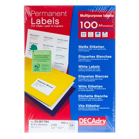 White Labels 63.5mm x 33.9mm