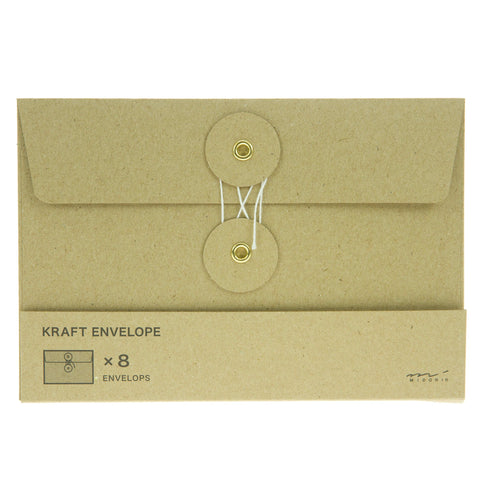 Midori Kraft Envelopes 8pk Brown