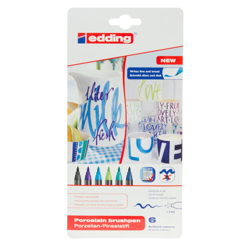 Edding Porcelain Brushpen 6pk Blues