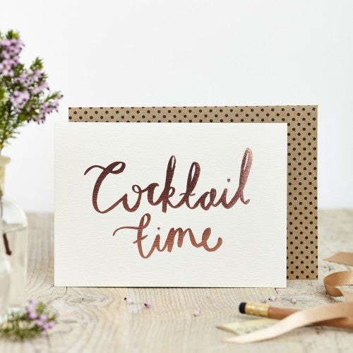Cocktail Time Rose Foil Card