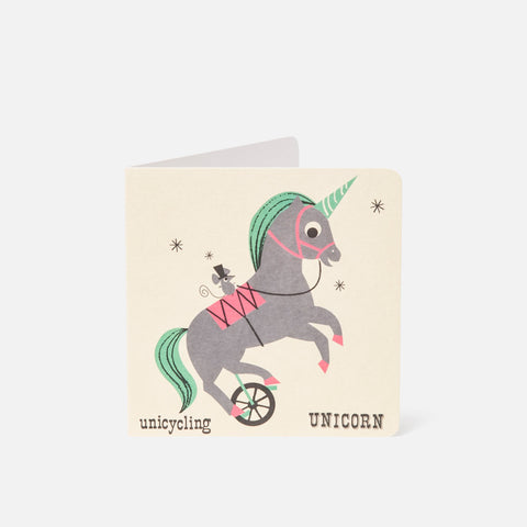 A-Z Card Unicycling Unicorn