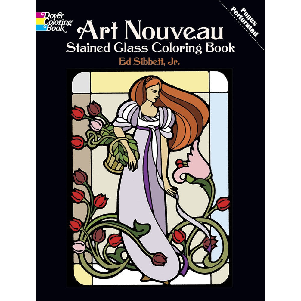 art nouveau stained glass colouring book - Stained Glass Coloring Book