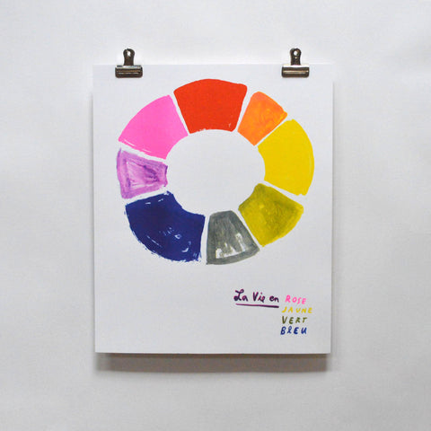 Yellow Owl Workshop - La Vie en Rose Color Wheel Risograph Print