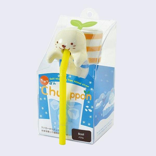 Chuppon Drinking Animal Planter - Seal / Basil