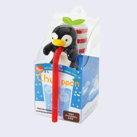 Chuppon Drinking Animal Planter - Penguin / Wild Strawerry