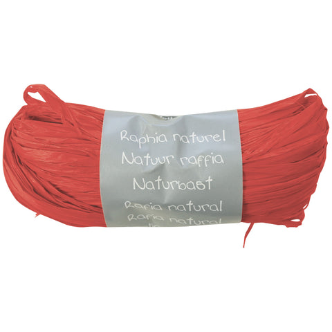 Natural Raffia Ball 50g Red