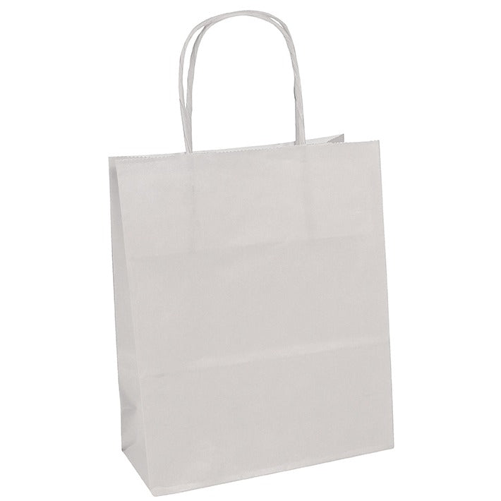 Gift Bag 18 x 7 x 24cm - White Kraft - Pack of 25