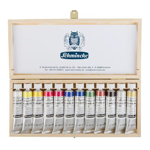 Schmincke alligraphy Gouache Wooden Box - 12 x 20ml