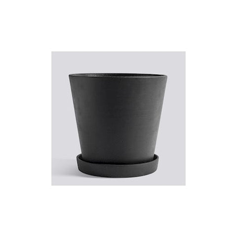HAY - Flowerpot with Saucer - XXL - Black