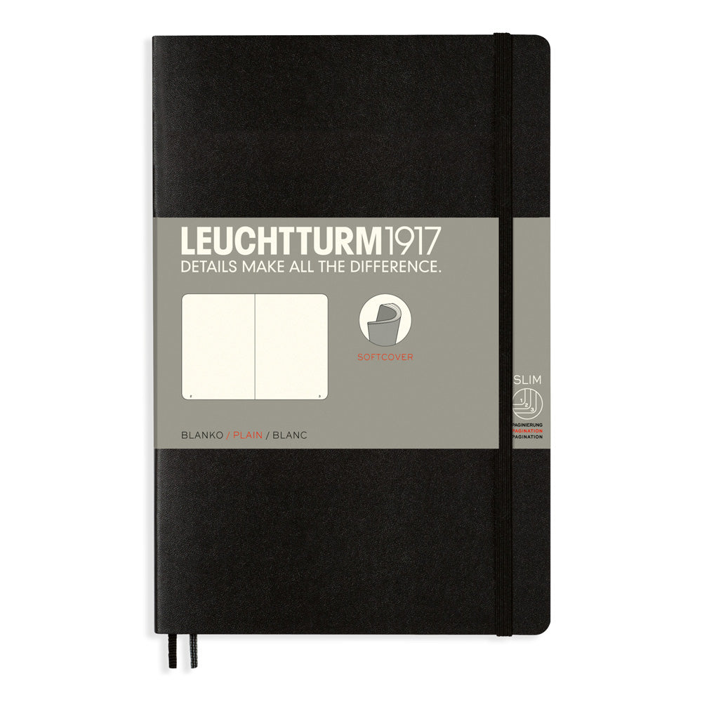 Leuchtturm1917 Paperback Notebook (B6+) - Black - Plain