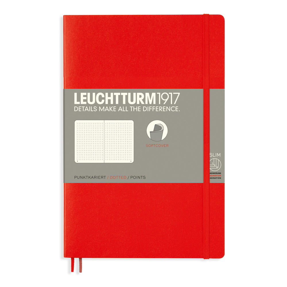 Leuchtturm1917 Paperback Notebook (B6+) - Red - Dotted