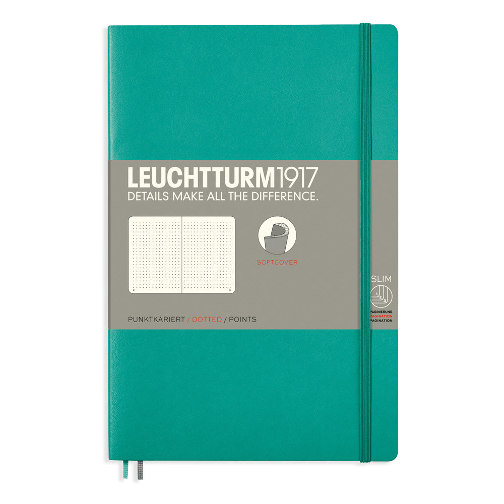 Leuchtturm1917 Paperback Notebook (B6+) - Emerald - Dotted