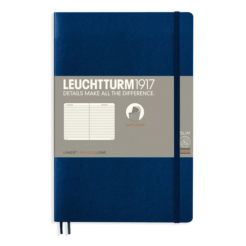 Leuchtturm1917 Paperback Notebook (B6+) - Navy - Ruled