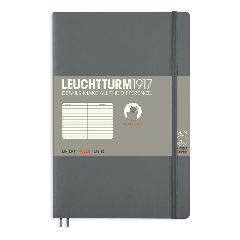 Leuchtturm1917 Paperback Notebook (B6+) - Anthracite - Ruled
