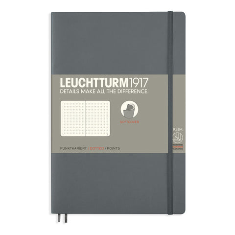 Leuchtturm1917 Paperback Notebook (B6+) - Anthracite - Dotted
