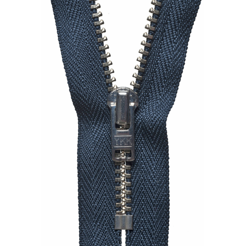 Metal Trouser Zip - 15cm/5.90in - Dark Navy