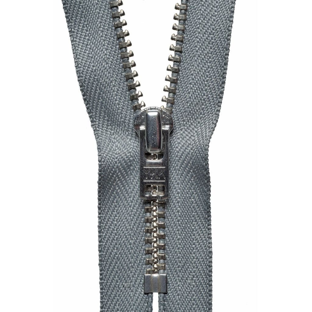 Metal Trouser Zip - 15cm/5.90in - Mid Grey